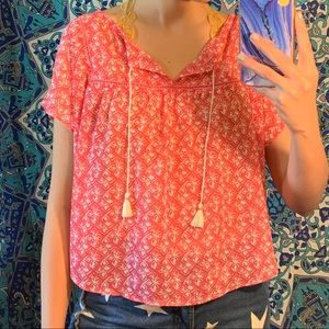 HOLLISTER PINK AND CREAM BOHO TIE BLOUSE TOP